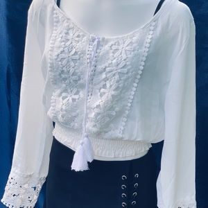 AEO White Chiffon Lace Off Shoulder Tassel-Tie Top